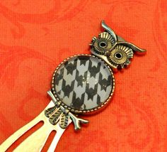 Owl Bookmark  Silver with Houndstooth by HandcraftedWithJoy