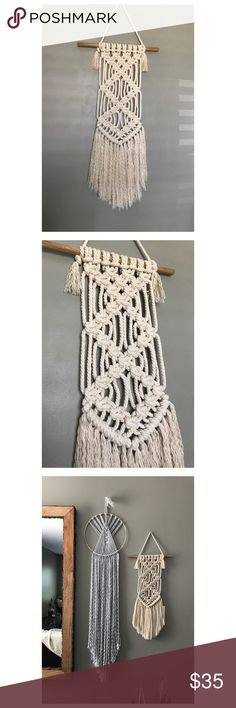 SALE! Macrame Bohemian Wall Hanging Macrame Bohemian Wall Hanging handmade with natural cream color cotton rope and a wooden dowel. Measurements, 12x30 Other