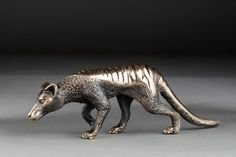 Miniature bronze sculpture of a Thylacine by Jake Mikoda