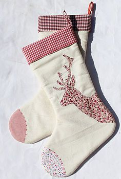 Red and White Reindeer Christmas Stocking