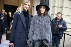 Sigrid Agren et Diana Moldovan http://www.vogue.fr/defiles/street-looks/diaporama/fashion-week-milan-les-street-looks-automne-hiver-2014-2015-jour-1-fw2014/17632/image/956452#!10