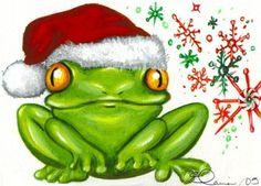 Green Christmas Frog