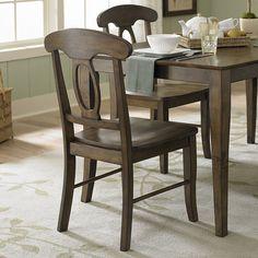 Tribecca Home Barnet Walnut Napoleon Casual Side Chair (Set of 2) (Barnet Side Chair (Set of 2)), Brown (Rubberwood)