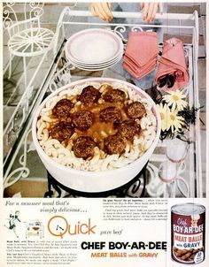Yuck - canned meatballs and gravy.  Glad they don't make these anymore.