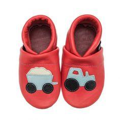 pantau.eu Kinder Lederpuschen Traktor mit Anhänger, Rot-Hellblau-Beige-Schwarz, Größe 35 - http://on-line-kaufen.de/pantau-eu/35-fusslaenge-bis-22-8cm-sohlenlaenge-23-6cm-eu-mit-16
