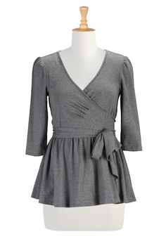 Peplum Tops Plus Size, Wrap Melange Tees Womens fashion design - Embellished Tops - Shop for Embellished Tops, Women's Long Sleeve Tops - | eShakti.com