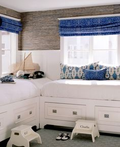 love this: built-in beds with drawers, board and batten and grasscloth wall paper. :)