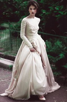 Winter silk batiste and lace lining wedding dress / http://www.deerpearlflowers.com/unique-sophisticated-wedding-dresses-from-cathy-telle/