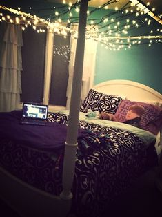 Bed Canopy With Lights bedroom fairy lights 6 | room decor | pinterest | canopy, lights