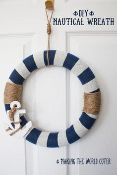 #DIY Spring Wreath Idea | Nautical Anchor Wreath from @Tiffany Hewlett {Making The World Cuter} | Supplies available at Joann.com | #craftmonthlove