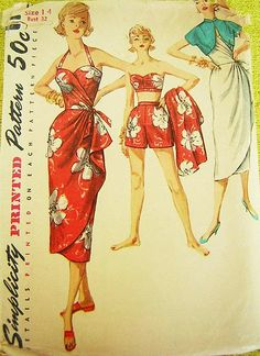 Sarong-inspired vintage 50's swimsuit pattern
