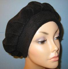 Womens+Black+Fleece+Beret+Turban+Chemo+Hat+by+CJHats+on+Etsy,+$12.00