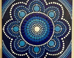 Hecho a mano 5 x 5 pulgadas punto azul Mandala lona, pintura de Dot, Dot Art, Dotilism, arte de pared
