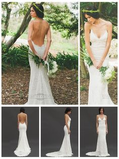LOVE! Spaghetti Straps Plunging V-neck Low Backless Lace Wedding Dresses