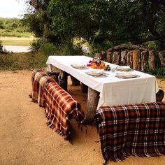 Breakfast by a river full of wild elephants at the MalaMala Game Reserve. www.travelifemagazine.com