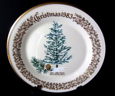 Large Lenox Commemorative Christmas Plate Evergreen Christmas Tree 1983 with Box by jpcraft15 on Etsy