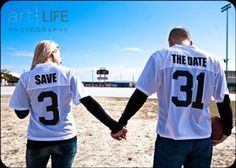 Football Save the Date. Donnie would love Drew Brees' number haha