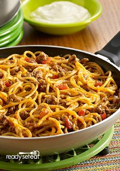 Looking for a quick and healthier dinner recipe? Try this easy Taco Spaghetti Skillet! It's delicious and ready in 30 minutes.