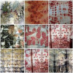 india flint - eco-dyeing - some leaves, sun, steaming, and time. Shibori, Fabric Painting, Fabric Art, Fabric Design, Textile Dyeing, Textile Art, Dyeing Fabric, Tinta Natural, Natural Dye Fabric