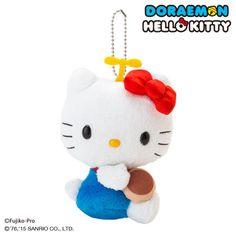 Hello Kitty x Doraemon Plush Doll Mascot Key Chain Ring Anywhere Door JAPAN