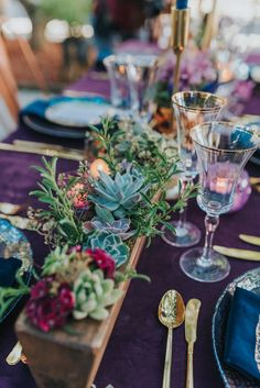 Bohemian Styled Wedding Eggplant velvet tablecloths, iridescent violet / gold place settings and lots of succulents set the scene for our reception table. Jewel Tone Wedding, Purple Wedding, Wedding Colors, Dream Wedding, Gothic Wedding, Lace Wedding, Wedding Rings, Wedding Table Settings, Place Settings