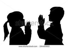 silhouettes children praying - Google Search