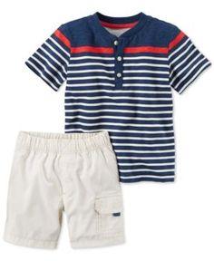 Carter's 2-Pc. Cotton Striped Henley & Poplin Cargo Shorts Set, Baby Boys (0-24 months) - Blue
