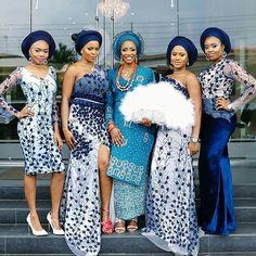 Picture Perfect!  The #Bride and her #Girls   Outfits Designed by @t16worldoffashion Fabric @Solesfashion  #WDMTrad #WeddingDigest #WeddingDigestNaija