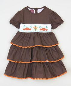 Girls 3t Thanksgiving SMOCKED Dress Fall Scarecrow Pumpkin NWOT runs small  | eBay