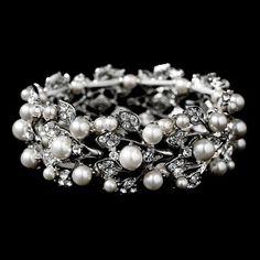 Bridal Wedding Jewelry Crystal Rhinestone Pearl Leaf Stretch Bracelet Silver:Amazon:Jewelry