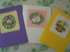 Set of 3  Cross Stitch Spring Themed Blank Cards by WitsEndDesign, $15.00