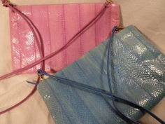 Beverly Hills Bag Lady Colorful Eel Skin Purse, Strap or Clutch, NWOT Free Ship!