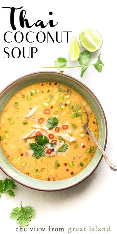 Thai Coconut Soup ~ it& so much more intensely flavored than most western soups, it& wake you up, tingle your taste buds and make your nose run (in the best way. Chicken Coconut Soup, Coconut Soup Recipes, Coconut Curry Soup, Chicken Soups, Soup With Coconut Milk, Puree Soup Recipes, Shrimp Coconut Milk, Thai Curry Soup, Rotisserie Chicken Soup