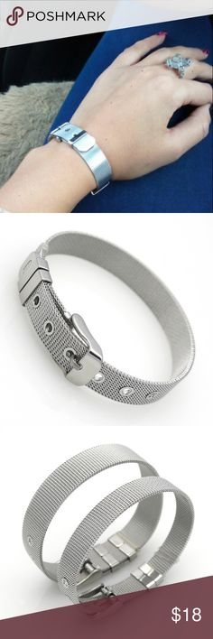 Trendy Wristband Bracelet Hot Classic Fashion Bracelet. Stainless Steel Wristband Bracelet For Women Top Quality! Can be adjusted, silver color. Jewelry Bracelets