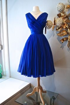 RESERVED// 1950s Dress / Vintage 50s I. Magnin Ink Blue Silk Chiffon Party Dress