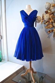 1950s Dress / Vintage 50s I. Magnin Ink Blue Silk by xtabayvintage, $248.00