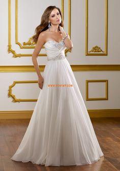 Court Släp Små vita klänningar Chiffong Bröllopsklänningar 2014
