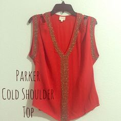 CCO Sale! Parker Top Paint the town RED! Gorgeous Cold Shoulder, Beaded Parker top. Size small. Sexy as can be! Top is in excellent pre worn condition. If you search it you may find a few flaws but there is no obvious signs of wear. Silky red with contrasting silver bead detail is stunning! Sale price FIRM Parker Tops