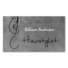 Attract new customers and remind clients of their upcoming hair appointment with a professional hairstylist with these modern mottled silver grunge hair salon appointment reminder business cards with strands of black curls of hair. Personalize by adding the name of beautician or hairdresser.