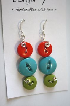 Fun with Buttons WireWrapped Colorful Button by dragonflydesigns01, $20.00
