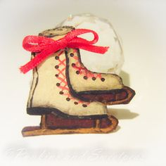 Folk Art Ice Skates- Red Ribbon Bow - Pin Brooch - Hand Painted Tin,Jewelry    For sale is a Wonderful piece of Wearable Folk Art which can