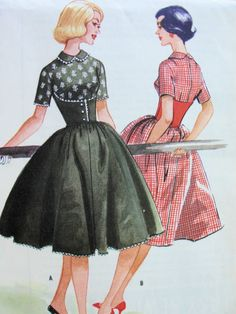 1950s McCalls Pattern 5147  CORSET STYLE MIDRIFF Dress PETER PAN COLLAR, FULL ROCKABILLY SKIRT, EASY TO SEW