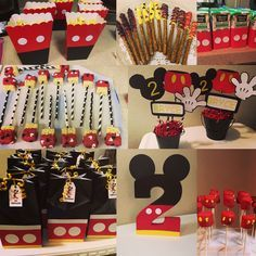 Mickey mouse party. Chocolate covered rice krispy treats, chocolate covered marshmellows and pretzels, goody bags,centerpieces.