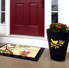 Top 10 Creative DIY Backyard Projects- like the mat, door and planter combination