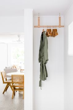 Hanging rail, coastal design. Apartment in Noosa, Australia. Interior Design by CLO Studios, Photography by Aimee Dodge. Sonos Music, Hanging Rail, Beach Shack, Interior Photography, Bedroom Inspo, Wardrobe Rack, Interior Design, Cool Stuff, Dodge