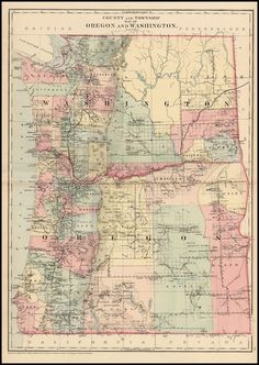 County And Township Map Of Oregon And Washington - Barry Lawrence Ruderman Antique Maps Inc.  1881