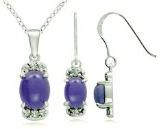 Sterling Silver 925 Jewelry Set Genuine Gemstone Cabochon 10x8 mm, Rhodium-Plated Finish, 2 Pieces Set *** You can get more details by clicking on the image. (As an Amazon Associate I earn from qualifying purchases) Photo Link, Jewelry Sets, Jade, Pendant Necklace, Gemstones, Sterling Silver, Amazon, Detail, Stuff To Buy
