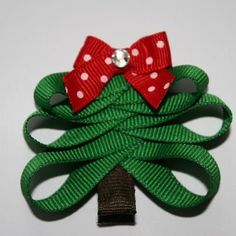 Sculpted Christmas Tree Hair Bow by Two Little Daisies  www.facebook/twolittledaisies.comhttp://www.etsy.com/listing/113438810/christmas-tree-bow?