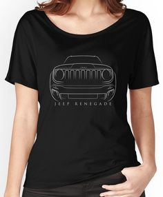 Jeep Renegade BU - Front Stencil, white Women's Relaxed Fit T-Shirt