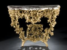 Rococo marble top console table, 18th century.